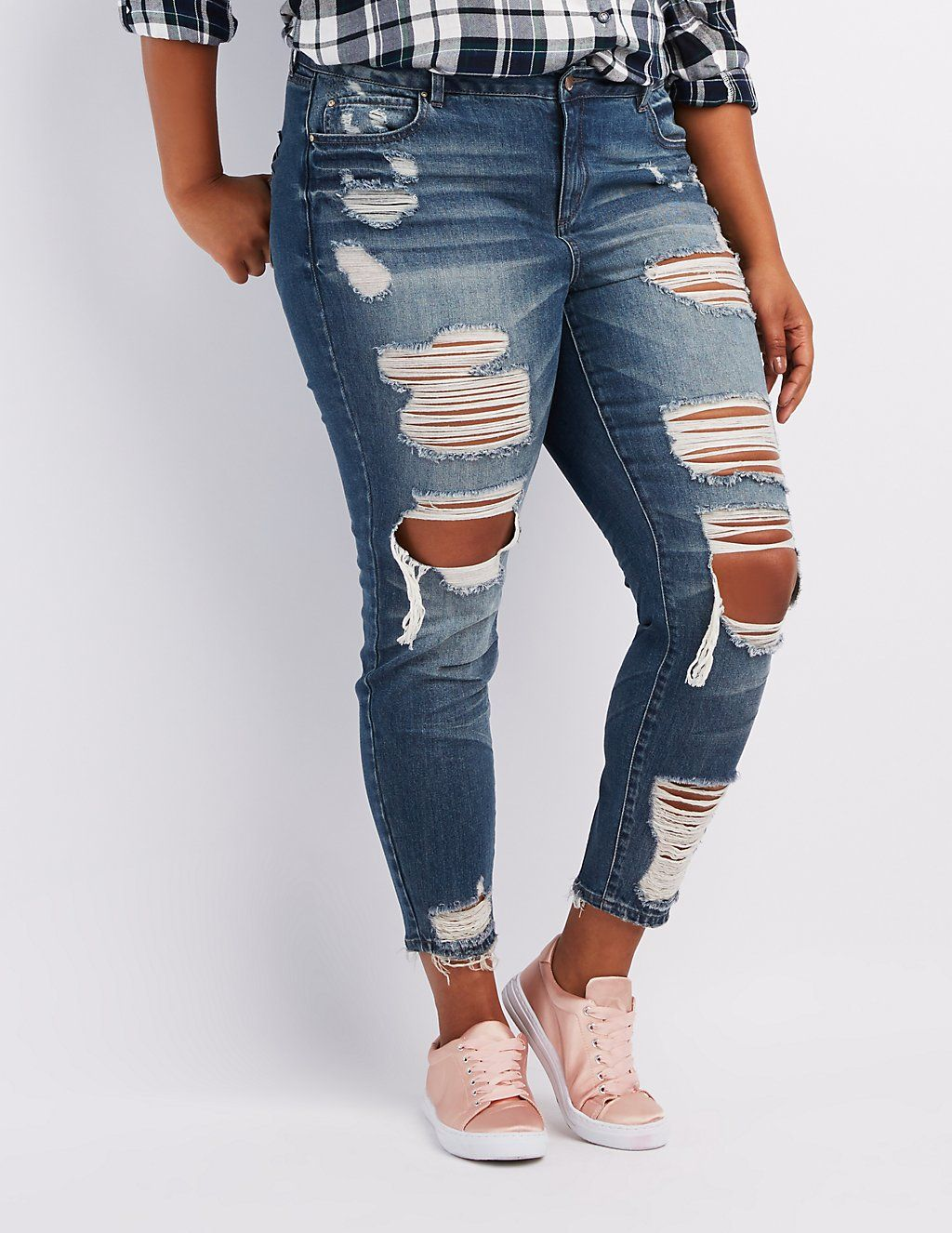 826d902868b Plus Size Refuge Skinny Boyfriend Destroyed Jeans