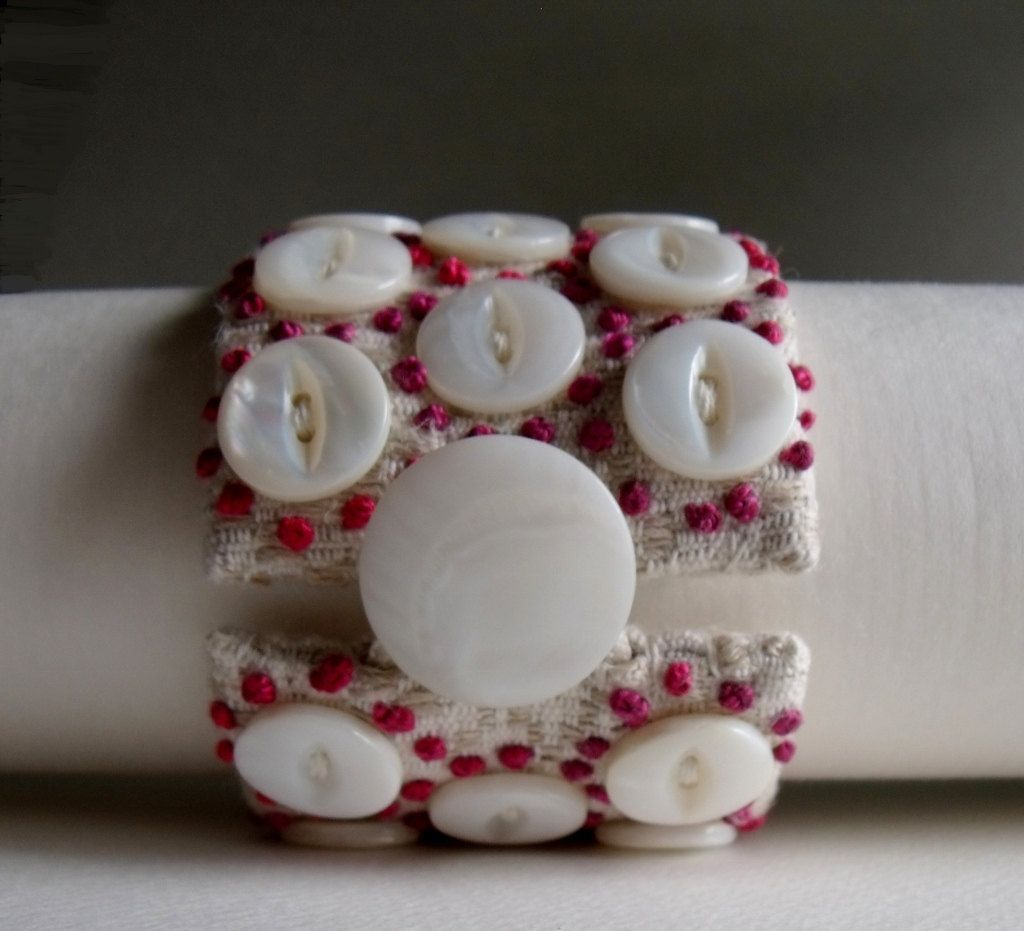 Jewelry Bracelet Cuff Hand Embroidered Beaded XII. $70.00, via Etsy.
