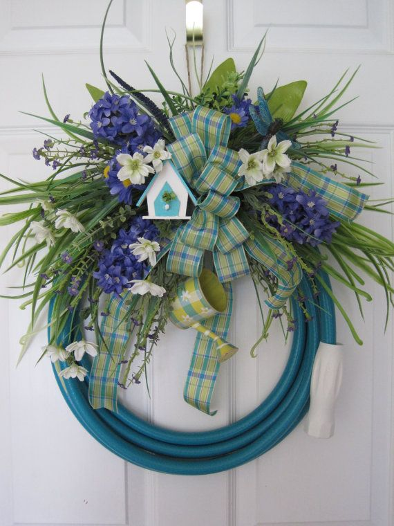 TURQUOISE GARDEN HOSE- Purple Hyacinth Spring Summer Door ...