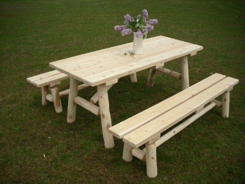 White Cedar Log Picnic Table With Detached Bench 6 Foot Review With Images Outdoor Patio Furniture Sets Backyards Picnic Table Outdoor Patio Furniture Sets