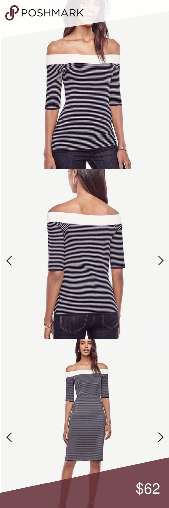 Striped off the shoulder sweater NWT - matched striped sweater ...