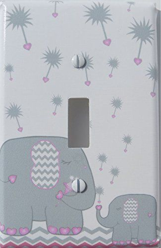 Pink and Grey Dandelion Elephant Light Switch Plates Cove...