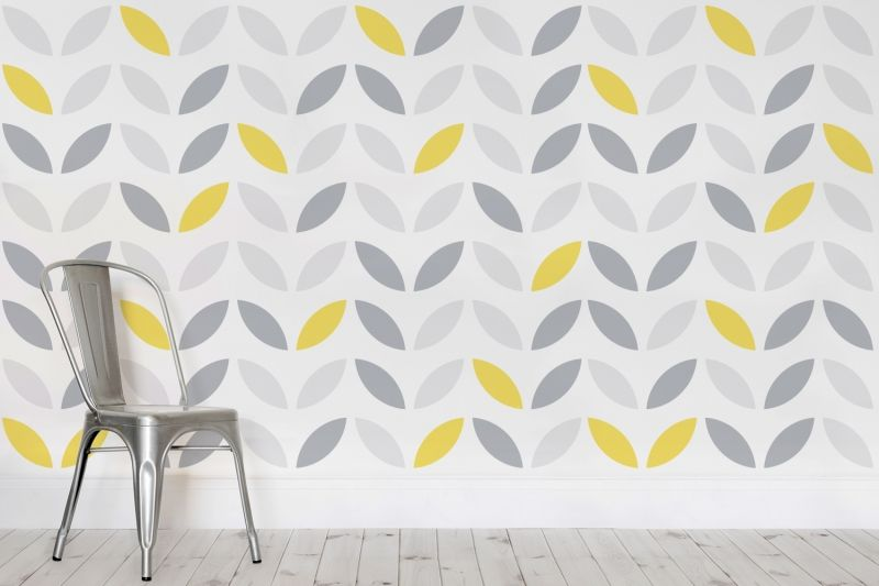 Yellow and Grey Abstract Flower Pattern Wallpaper  Pattern wallpaper and Flower patterns