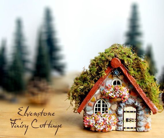Elvenstone Cottage - Miniature Fairy House with Layered Terracotta Roof, Bay Window and Wooden Door with Wrought Iron Accents