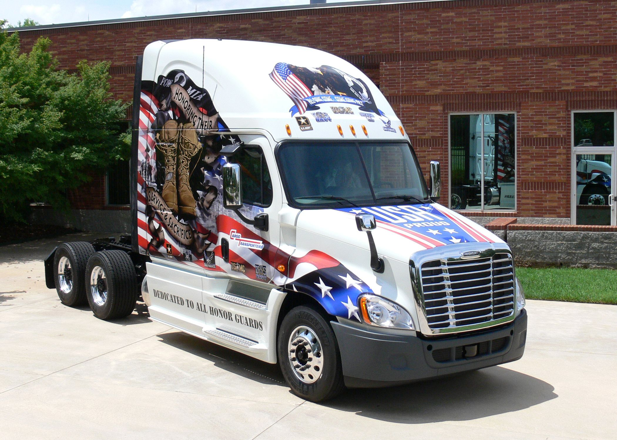 15 cars and trucks with patriotic paint jobs of red white blue