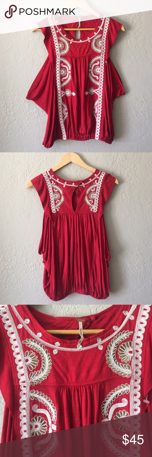 Free People Tank top blouse Free People Dos Segundos embroidered tank top blouse in cherry red. New without tag Free People Tops Blouses