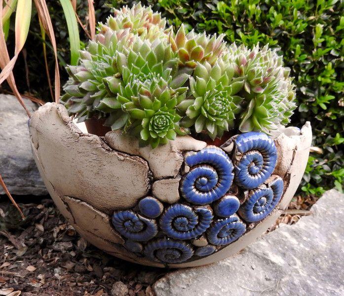Gartendekoration schale pflanzschale keramik blau for Gartendekoration garten