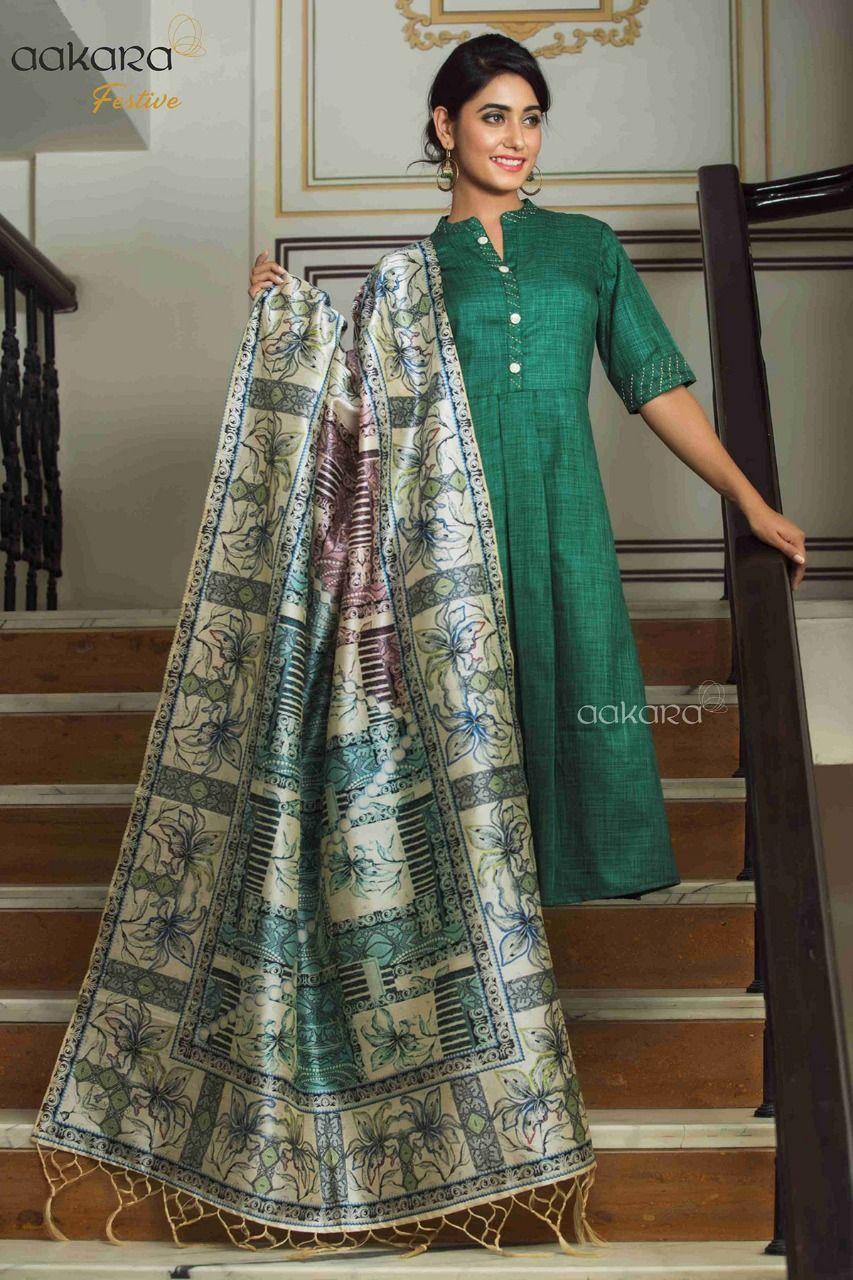a67471a8ab Aakara Fastive Vol-3 Kurtis with Digital Printed Chanderi Silk Dupatta (5 Pc  Set