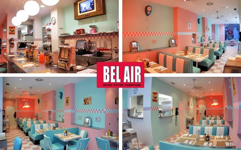 Bel Air Retro Furniture Diner Booth HW 180 Fifties / TURQUOISE 50ies.  Amrikaanse Meubels