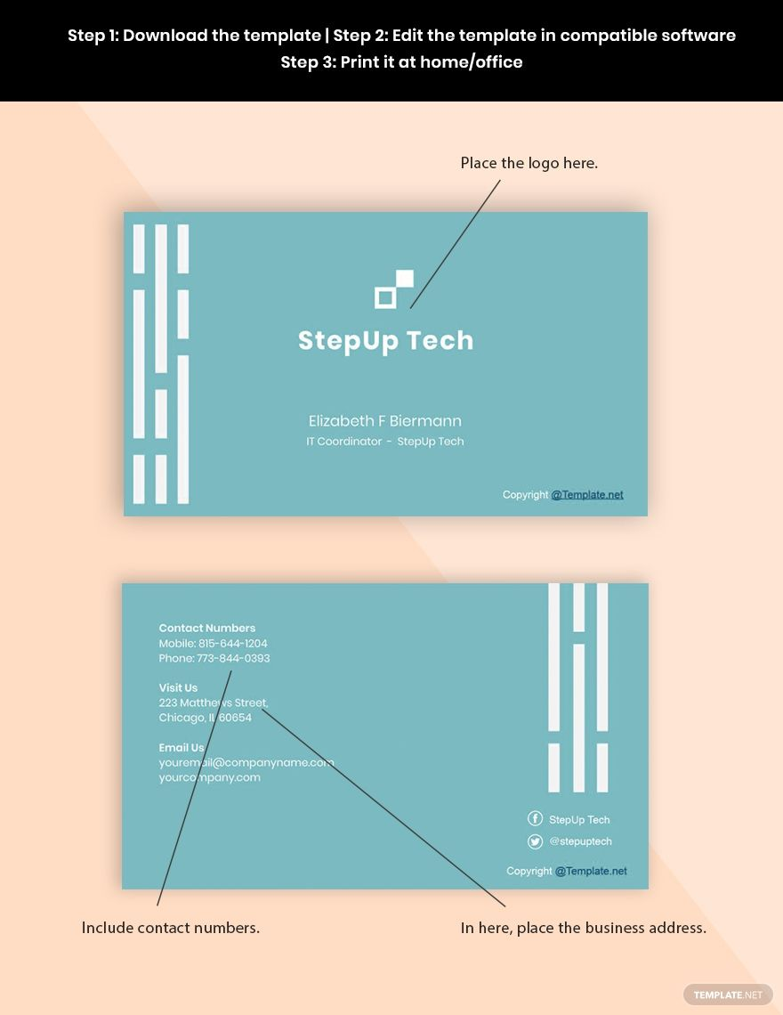 Free Minimal It Business Card Template Word Doc Psd Apple Mac Pages Google Docs Illustrator Business Card Template Word Business Card Template Free Business Card Templates