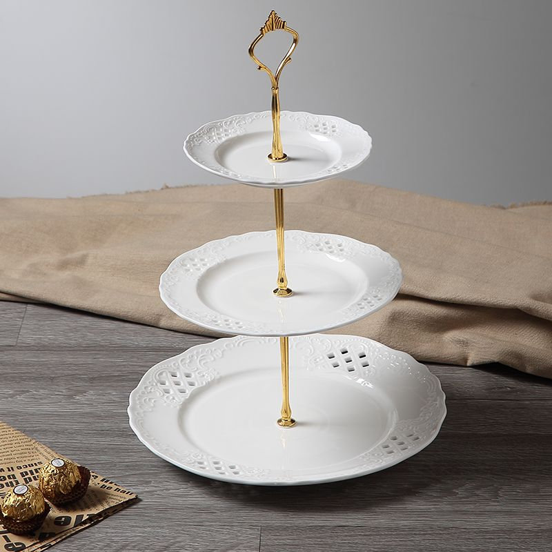 Engrave Ceramic White 3 Tiers Dishes Cake Stand Wedding Serving