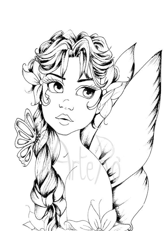 Printable fairies coloring pages ~ Fairy coloring page: The Art Therapy … | Fairy coloring ...
