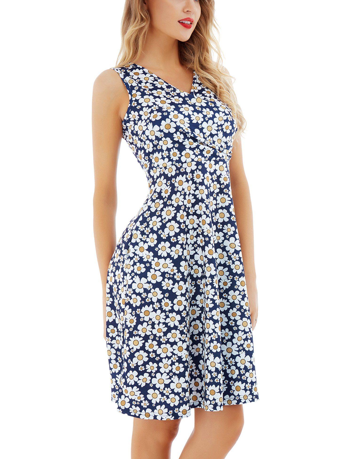 Maternity Dresses Uniboutique Womens Elegant Ladies Floral Print Faux Wrap V Neck Sleeveless Summer Swing Dresses Swing Dress With Pockets Swing Tshirt Dress [ 1950 x 1500 Pixel ]
