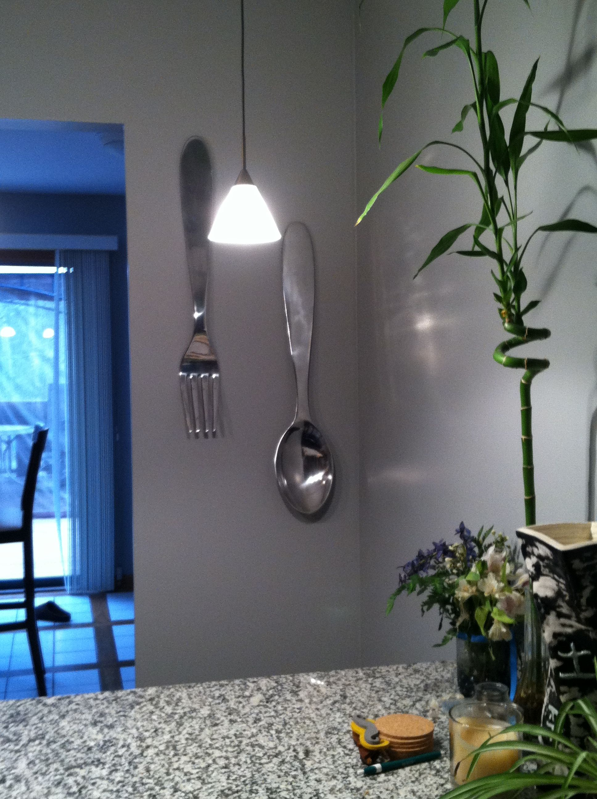 Giant Fork And Spoon For Kitchen