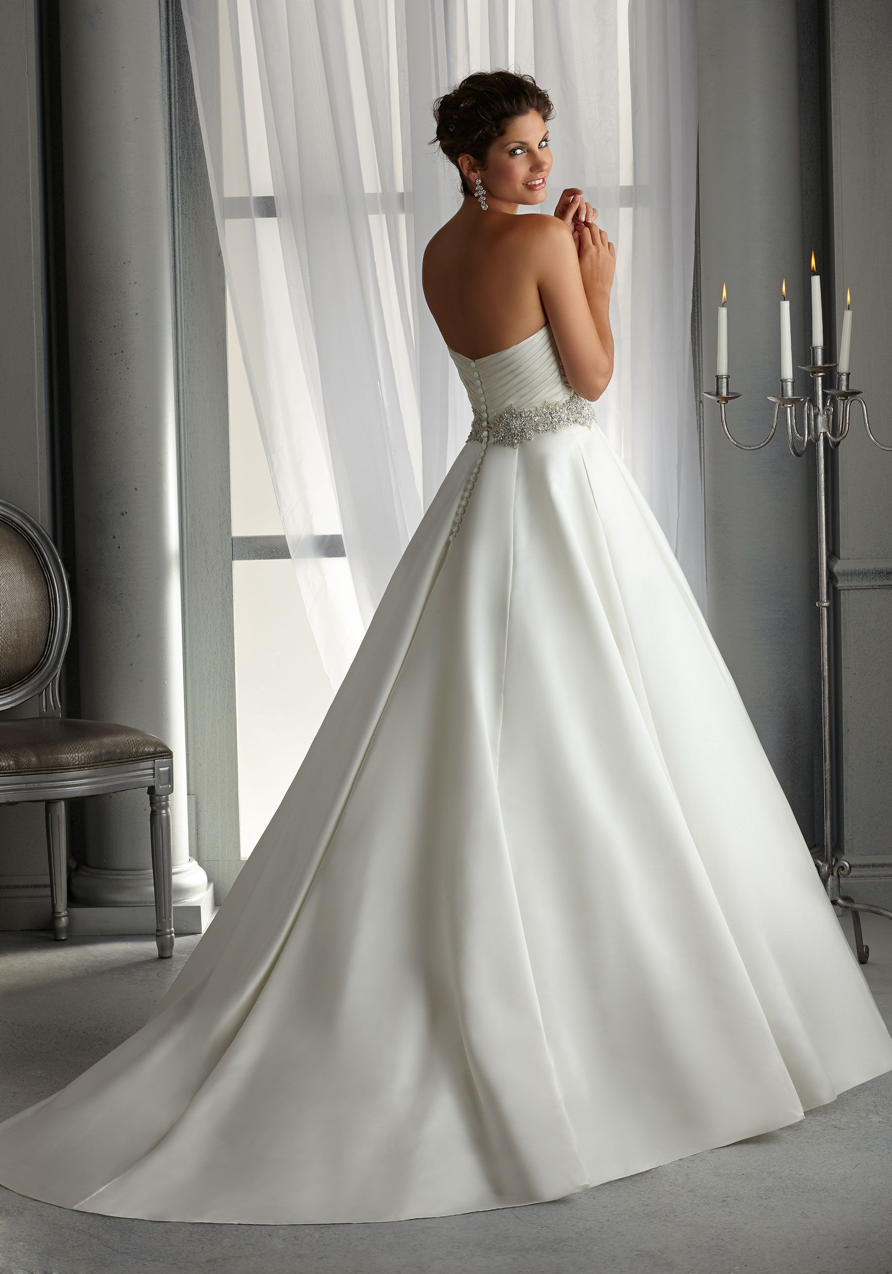 Asymmetrically draped aline style bridal dress a sparkling beaded