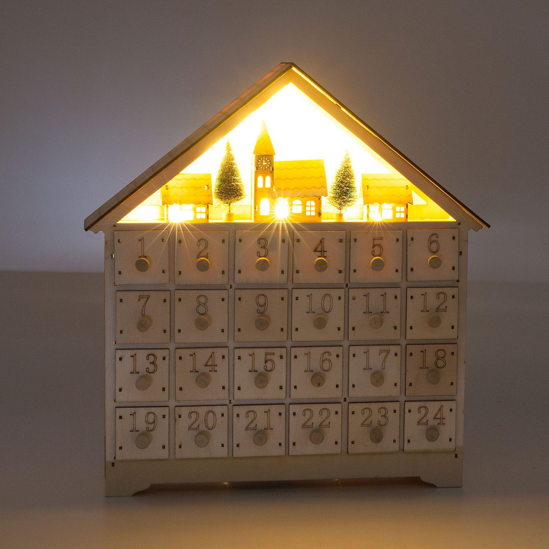 Calendario adviento cuadrado forma casa con luz - Decoración ...