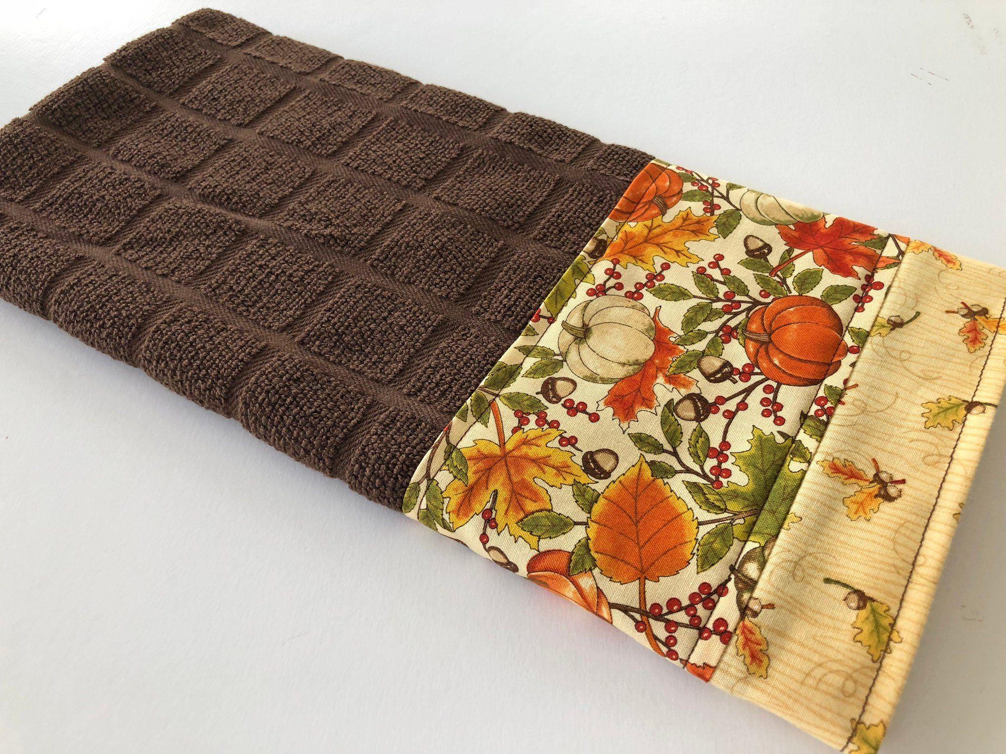 Autumn Fall Pumpkins on Brown Kitchen Dish Towel, Fabric ...
