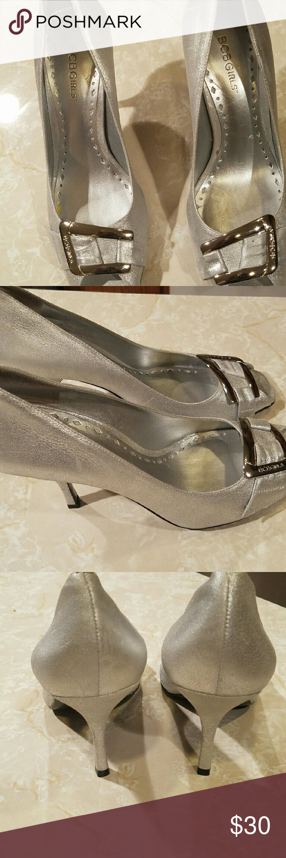 NEW BCBG SILVER DRESS PUMPS Dressy silver pumps perfect for a formal affair like a wedding , prom or dress up a pair of jeans with these babies and a glitzy top. BCBGirls Shoes Heels