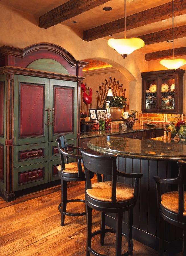 Love This Red And Green Kitchen Hutch Paula Berg Design Desert Custom Southwest Kitchen Design