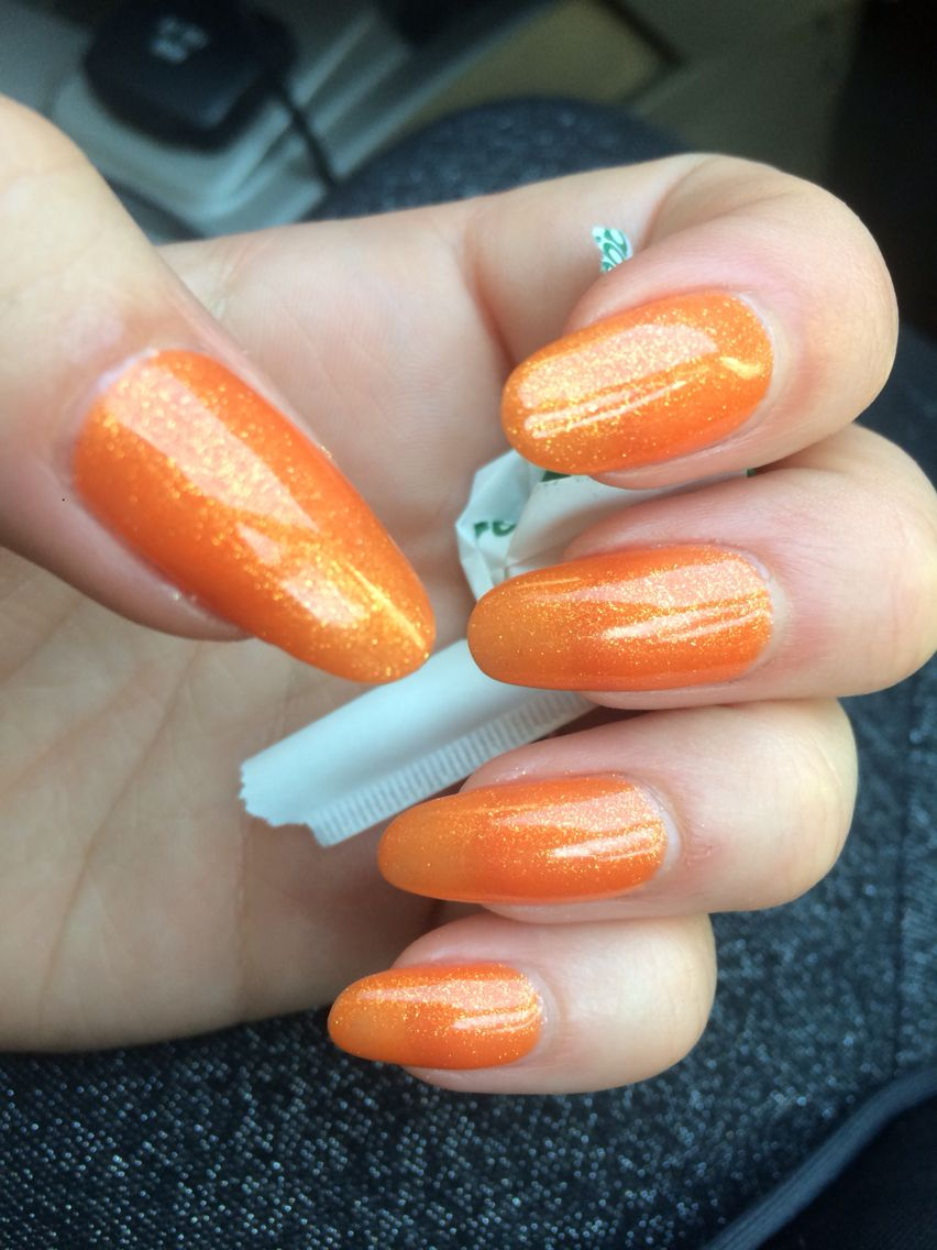 Fun Orange shimmer Nails for summer!