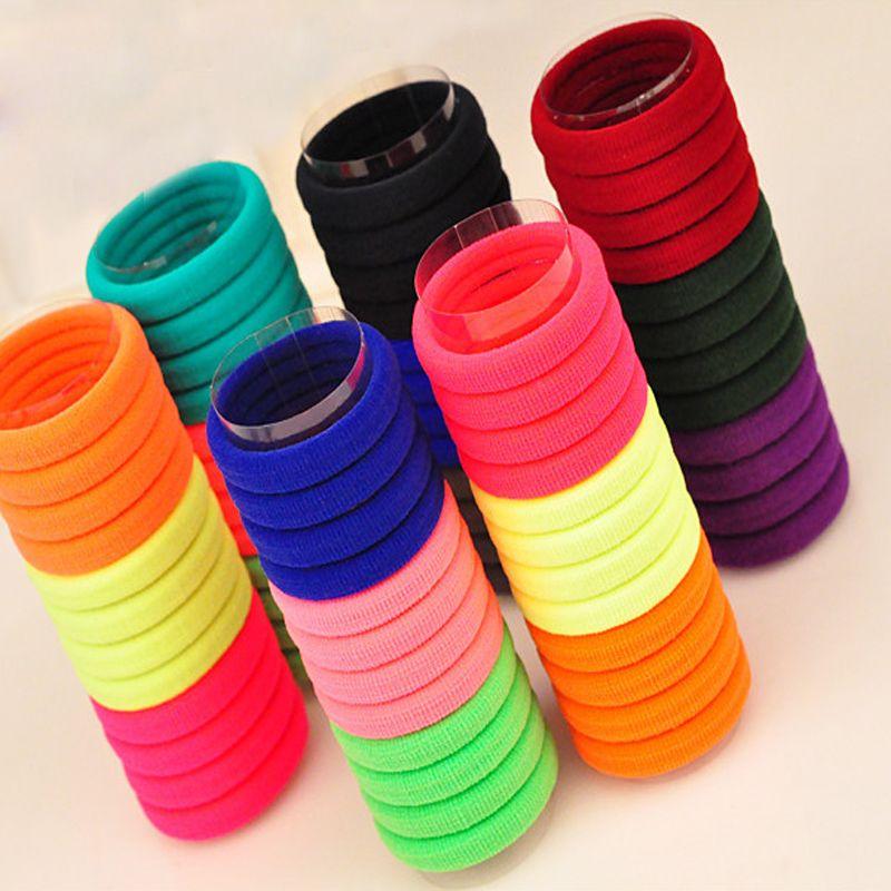 50 pcs candy fluorescenza a colori titolari capelli elastici elastici per capelli accessori ragazza donne tie gum fascia del bambino elastico