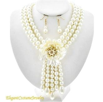 Ivory Pearl Flower Tropical Necklace Set Elegant Formal Jewelry