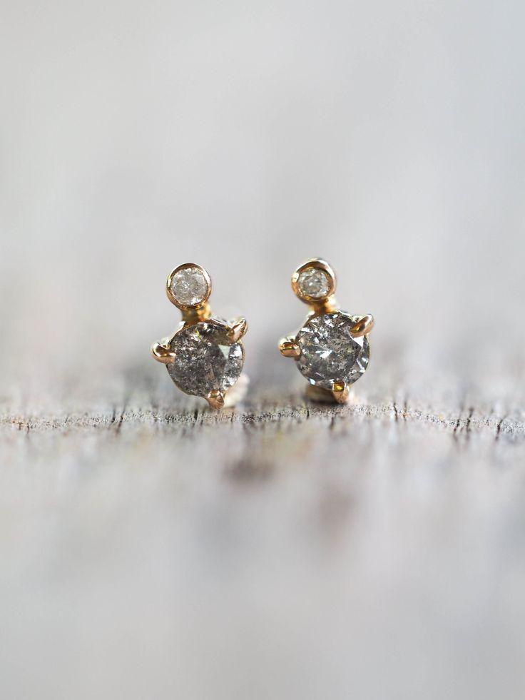 Grey Diamond Earrings - Gardens of the Sun Jewelry  Dainty little everyday diamond earrings. The salt and pepperdiamonds are just 2.5 mm wide.