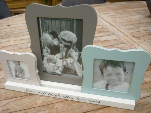 3er Bilderrahmen variabel Holz Shabby Weiß Pink Blau Grau Foto Fotorahmen