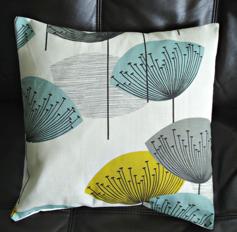 Decorative pillow yellow teal blue grey gray dandelion clock design