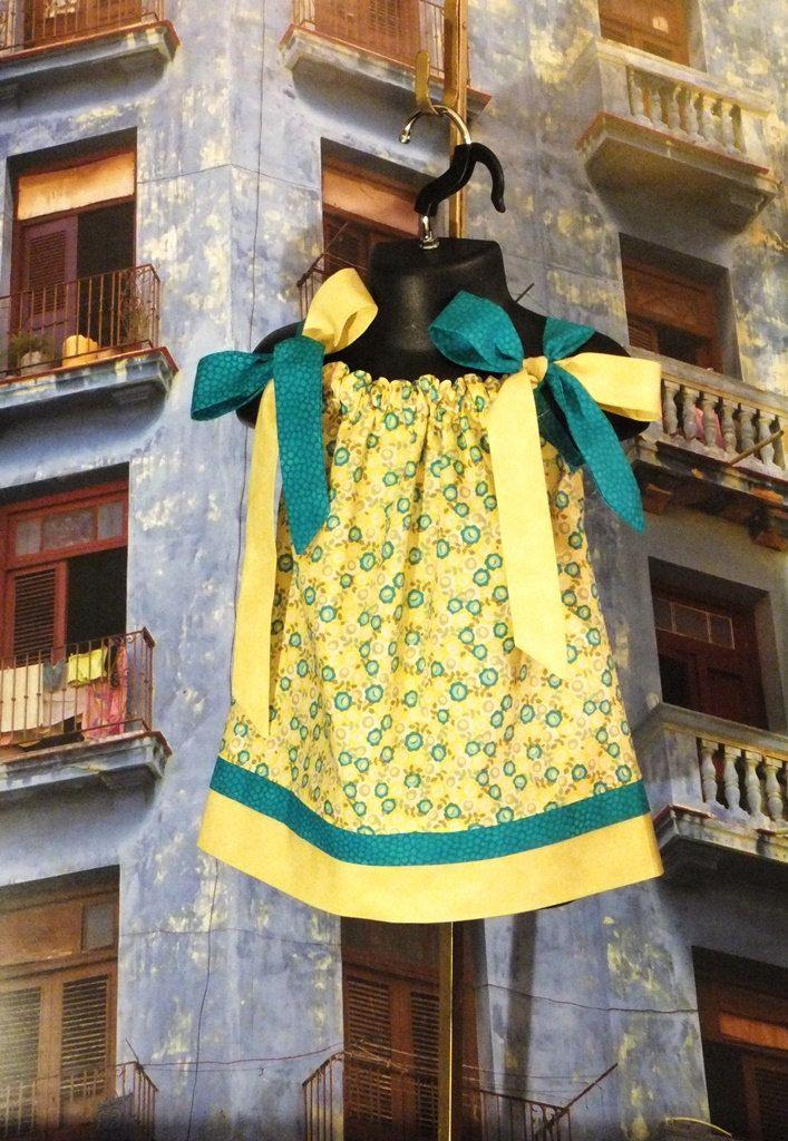 Vintage Inspired Handmade Blue Floral InfantBaby Dress 12-18 months