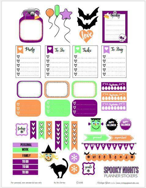 Free Halloween Planner Sticker Printable from Vintage Glam Studio