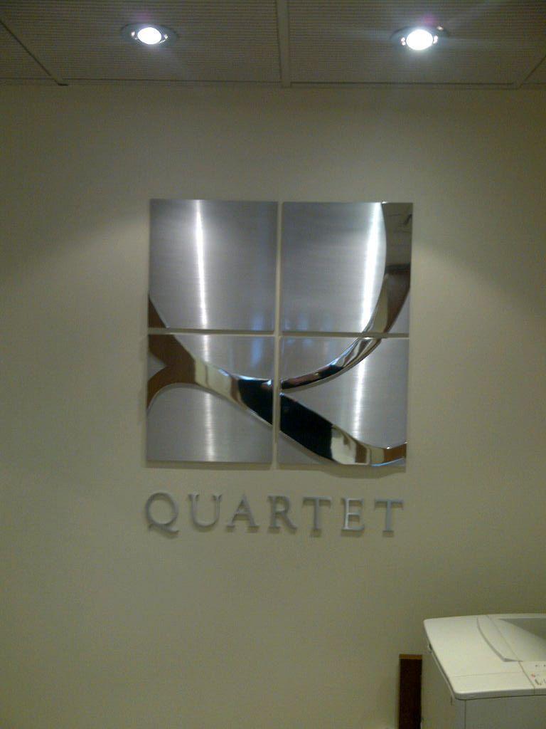 Quartet Icon 1 4 Brushed Aluminum Panels With 1 4 Polished Aluminum Q Lettering 1 4 Brushed Aluminum Reception Signs Sign Design Brushed Aluminum