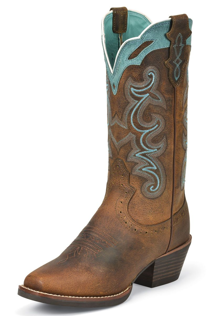 Justin Silver Blue Embroidered Cowgirl Wedding Boots