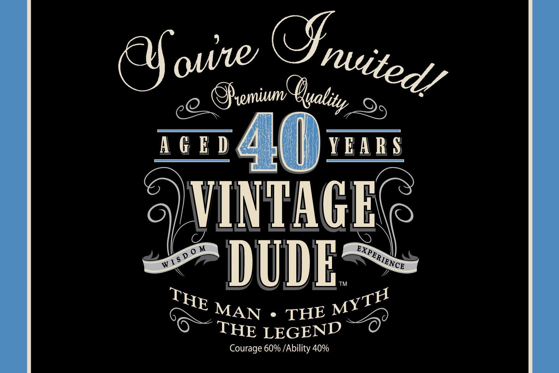 Vintage Man 40th Birthday Party Invitations