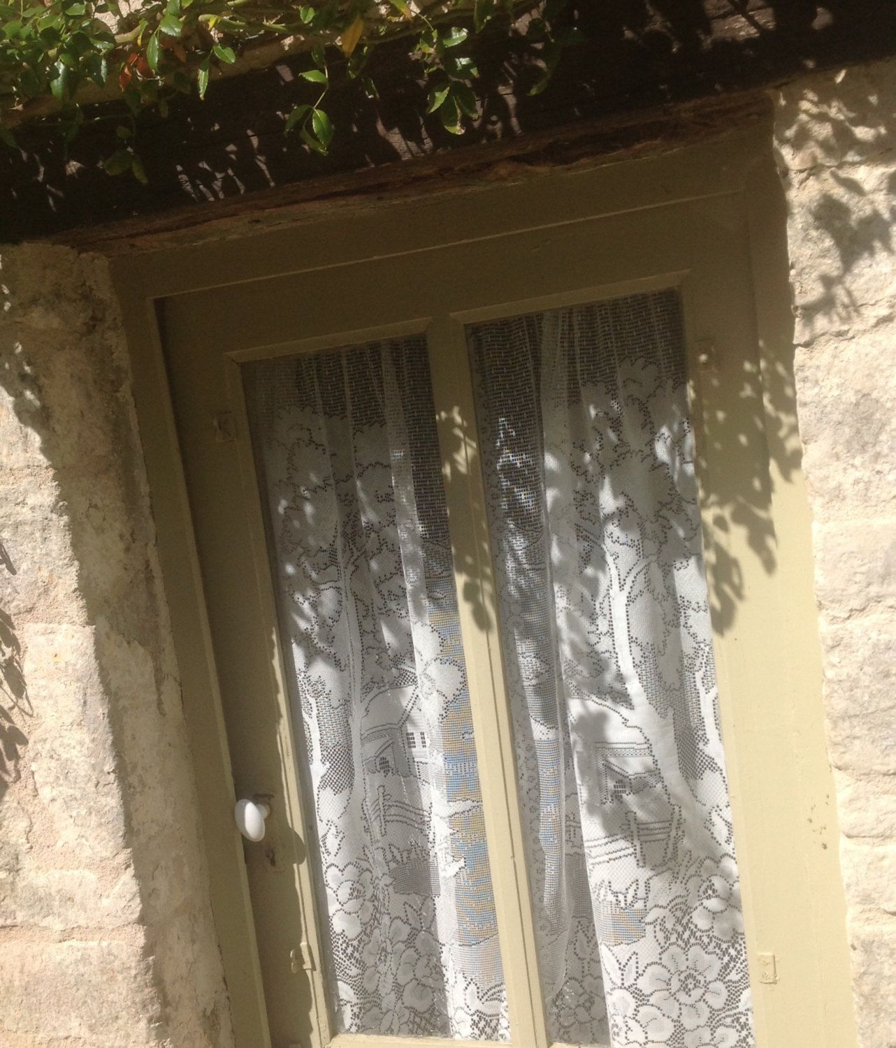 FREE SHIPPING.. A Pair Of French Panel, Country Curtains. Machine Filet Lace