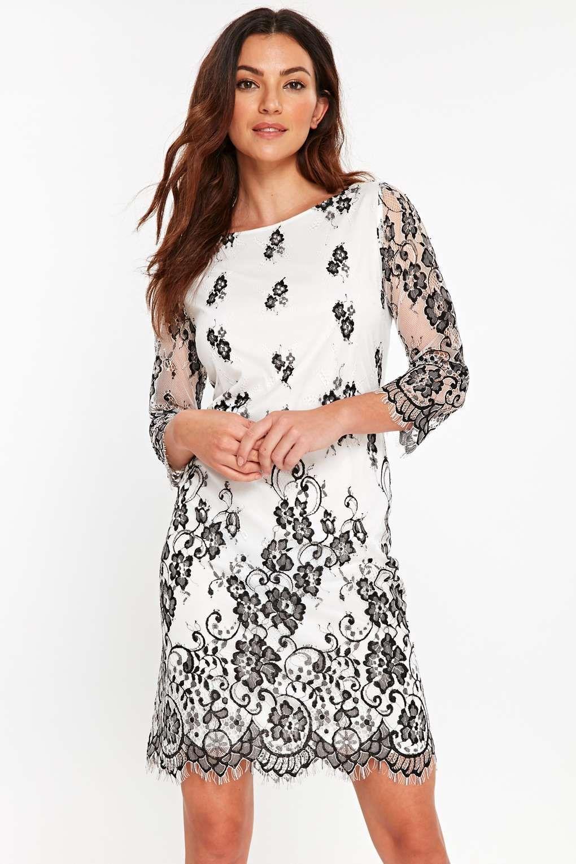 Monochrome Two Tone Lace Shift Dress Lace Shift Dress Black Lace Shift Dress Short Sleeve Shift Dress
