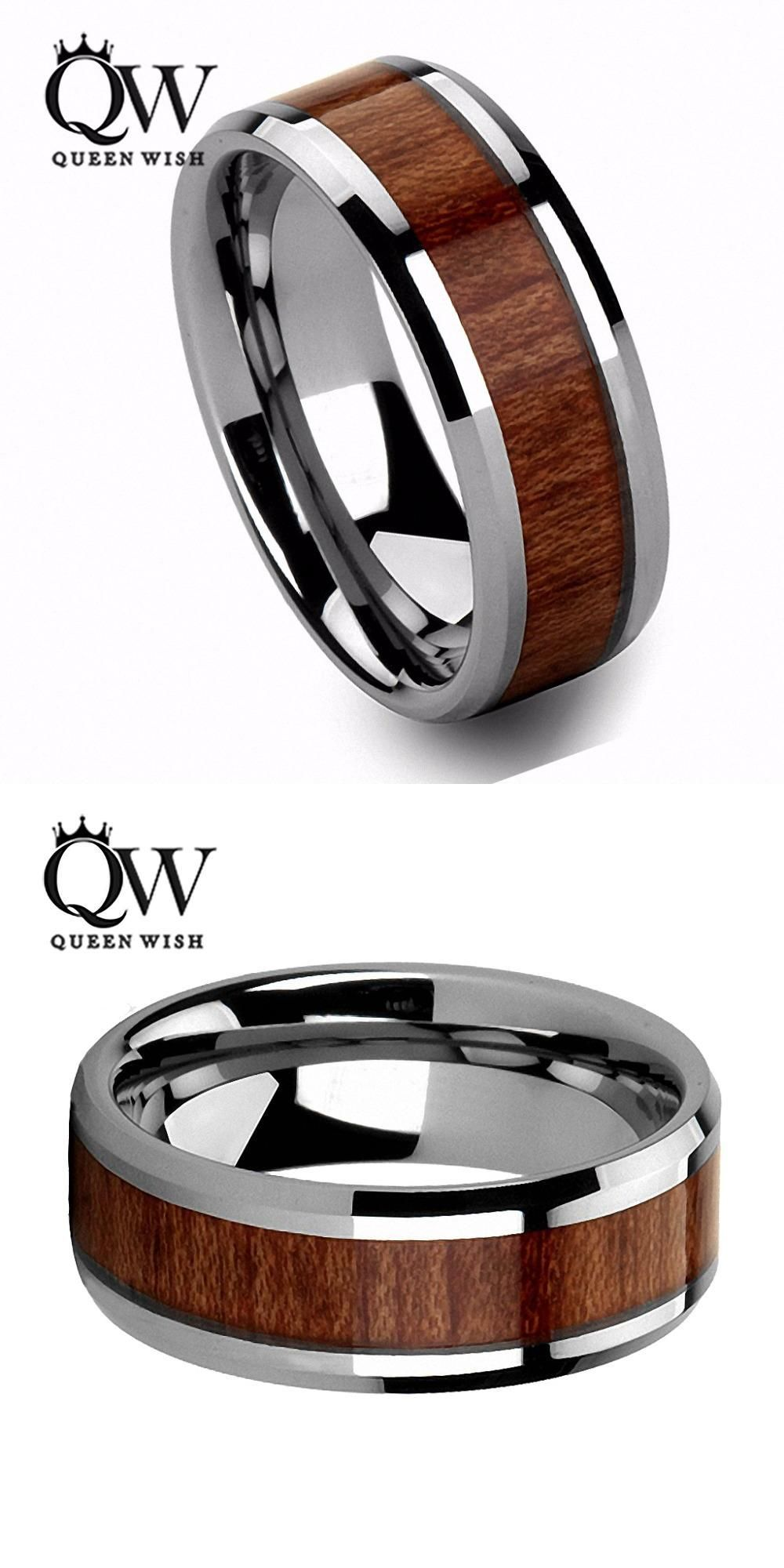 Visit To Buy Queenwish Mens Wedding Bands 8mm Vintage Hawaiian Koa Wood Inlay Silver