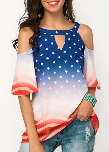 8ad717119e4def 4Th Of July Patriotic American Union Flag Print Cold Shoulder Blouse Cold  Shoulder Half Sleeve Star Print Blouse