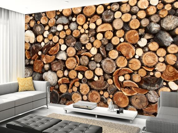 Pile of fire wood wall mural living room preview