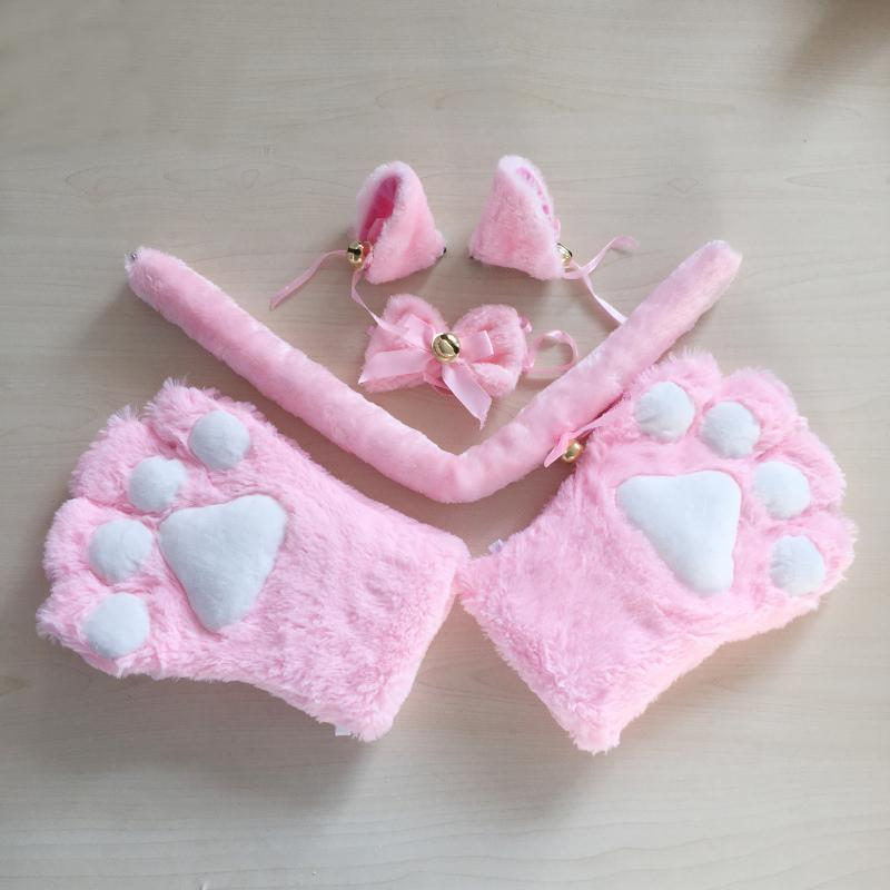 1 Set Plush Party Anime Cat Ears Cosplay Costume Paw Claw Gloves Tail Bow-tie