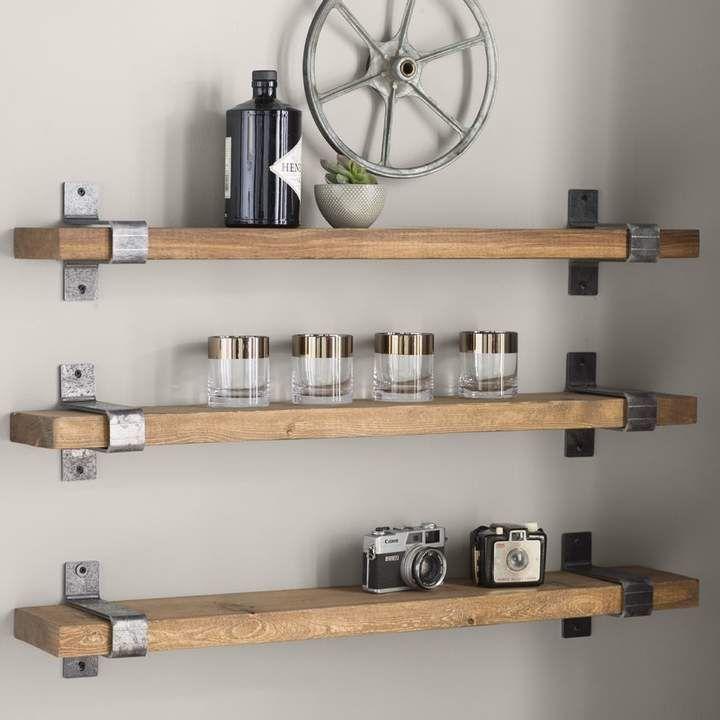Farrell Industrial Floating Shelf Print In 2019 Industrial Wall