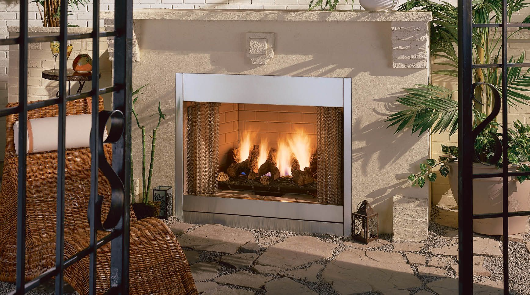 Corner outdoor fireplace - low profile | Outdoor Spaces ...