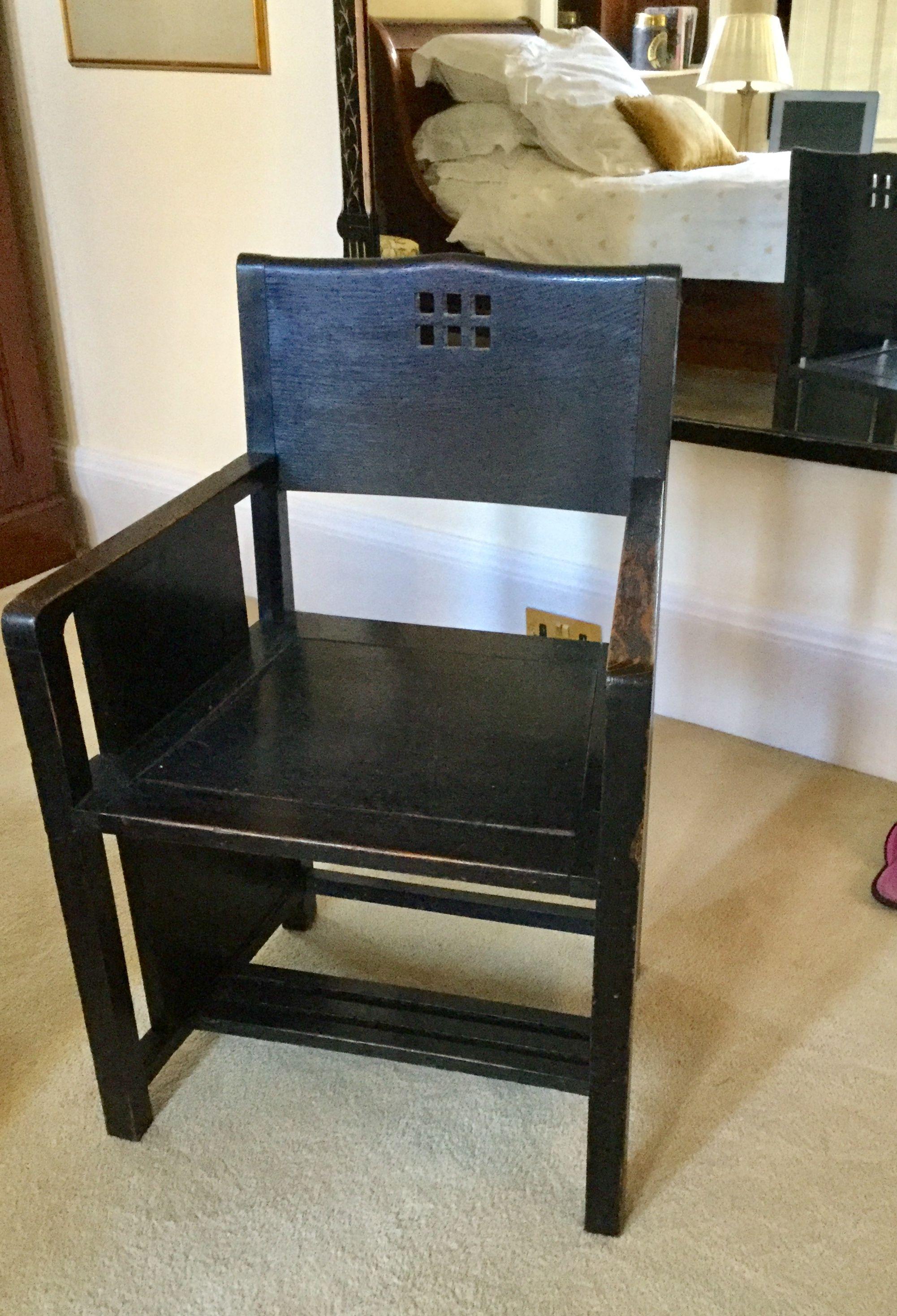 Glasgow Style Ebonised Chair Chair Step Stool Decor