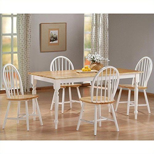 Boraam 80369 Farmhouse 5Piece Dining Room Set Whitenatural Classy 2 Piece Dining Room Set Design Decoration