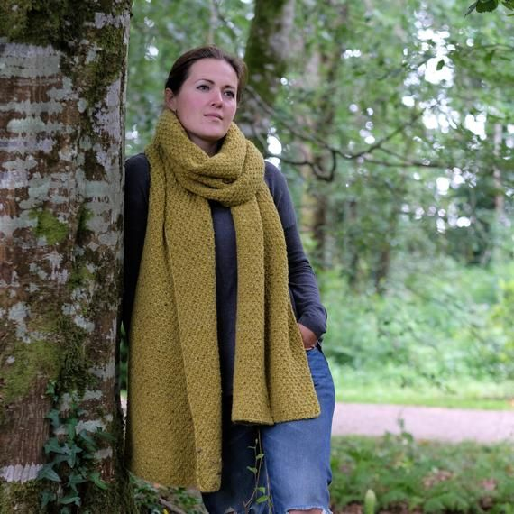 Photo of Chunky knit scarf, oversized wool scarf, extra long handknit scarf