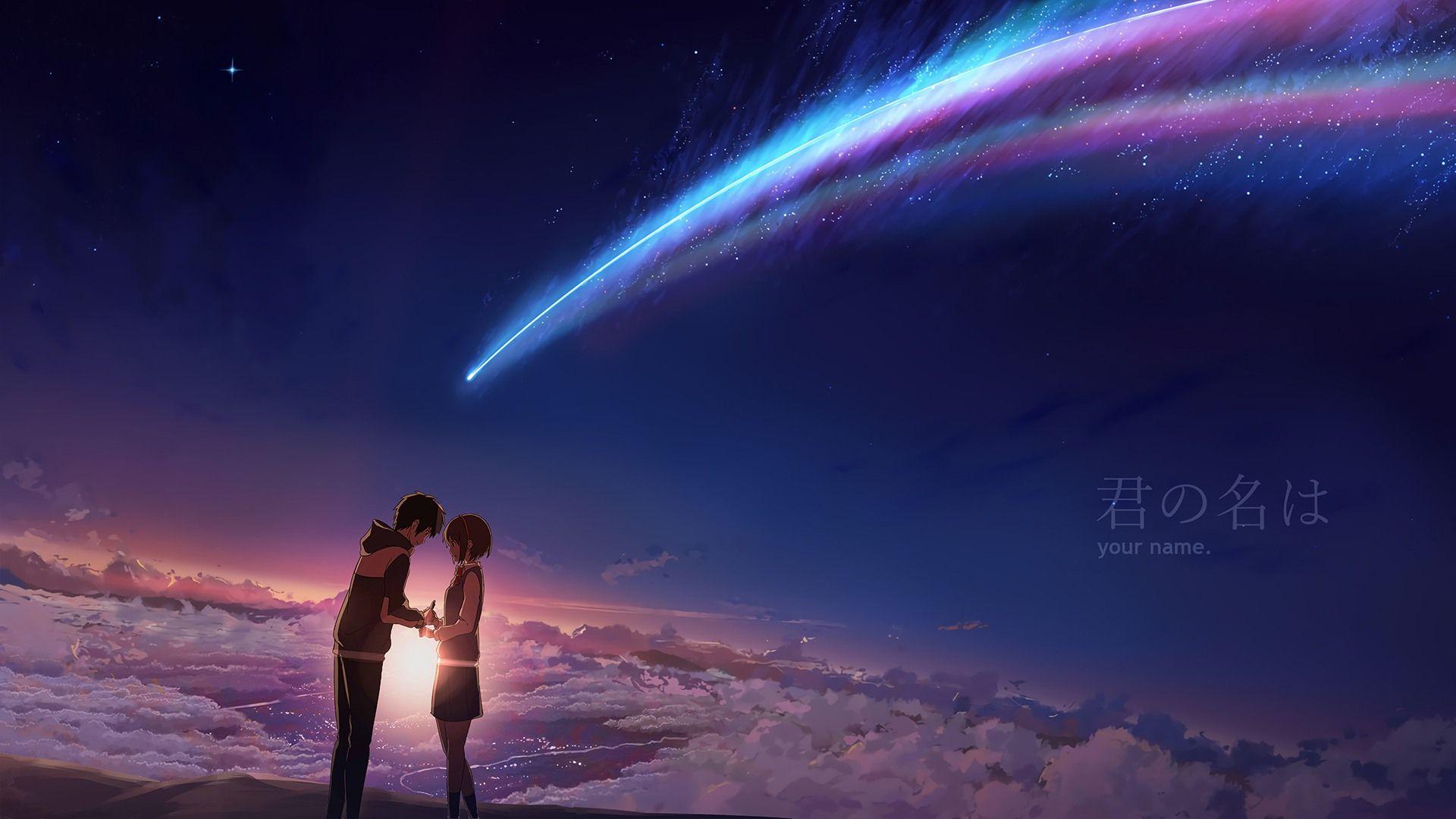 Taki and Mitsuha Your Name. Anime Sunrise Scenery Night