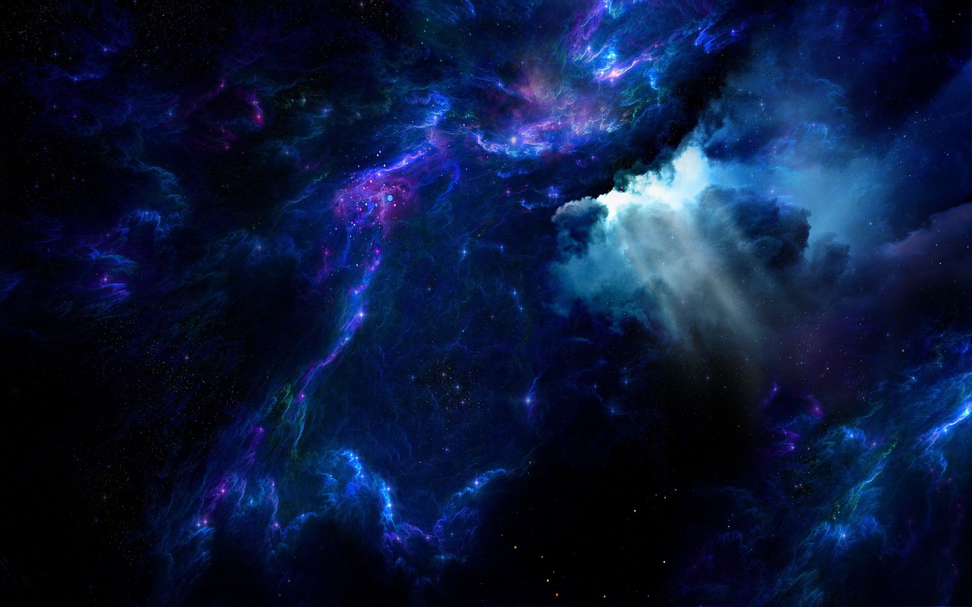 sci fi nebula cgi space blue stars wallpaper desktop