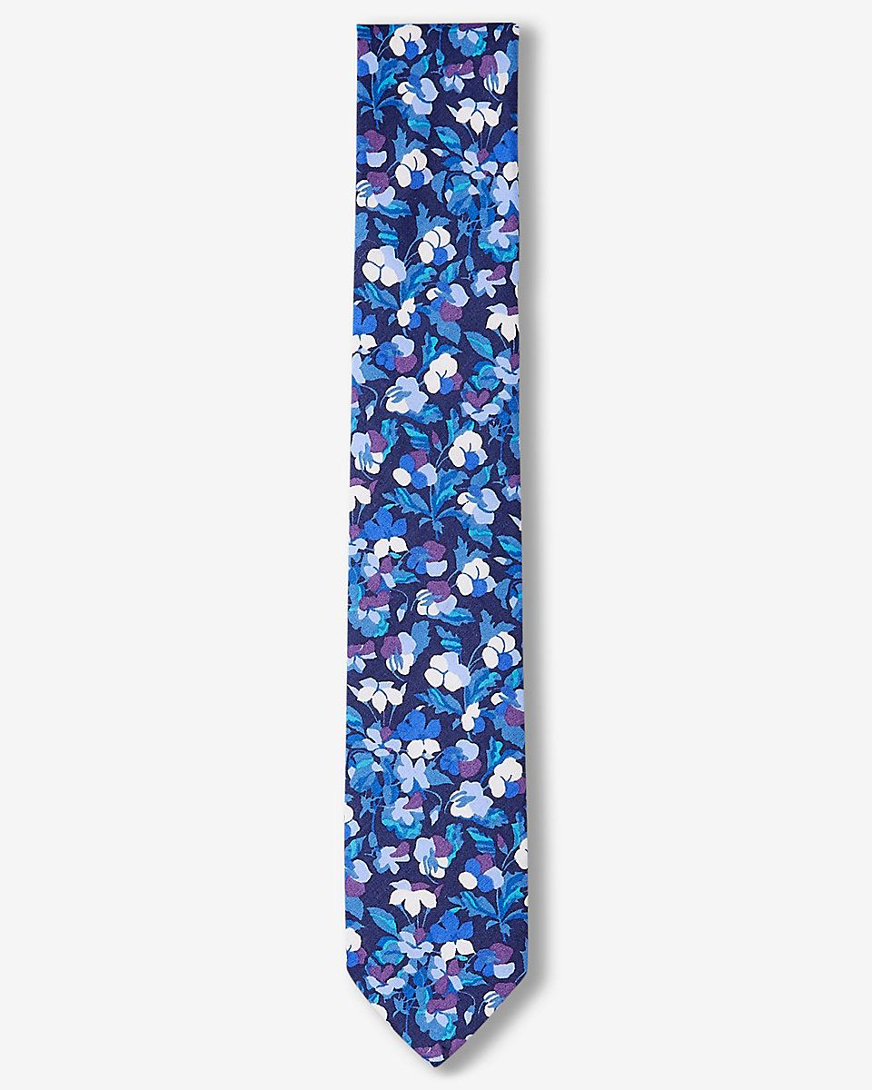 Purple Floral Print Slim Liberty Fabric Cotton Tie  $59.90 + Tax and Shipping
