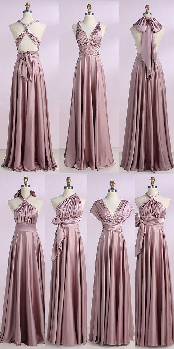 71b44616b35 A-Line V-Neck Blush Stretch Satin Convertible Prom Bridesmaid Dress ...