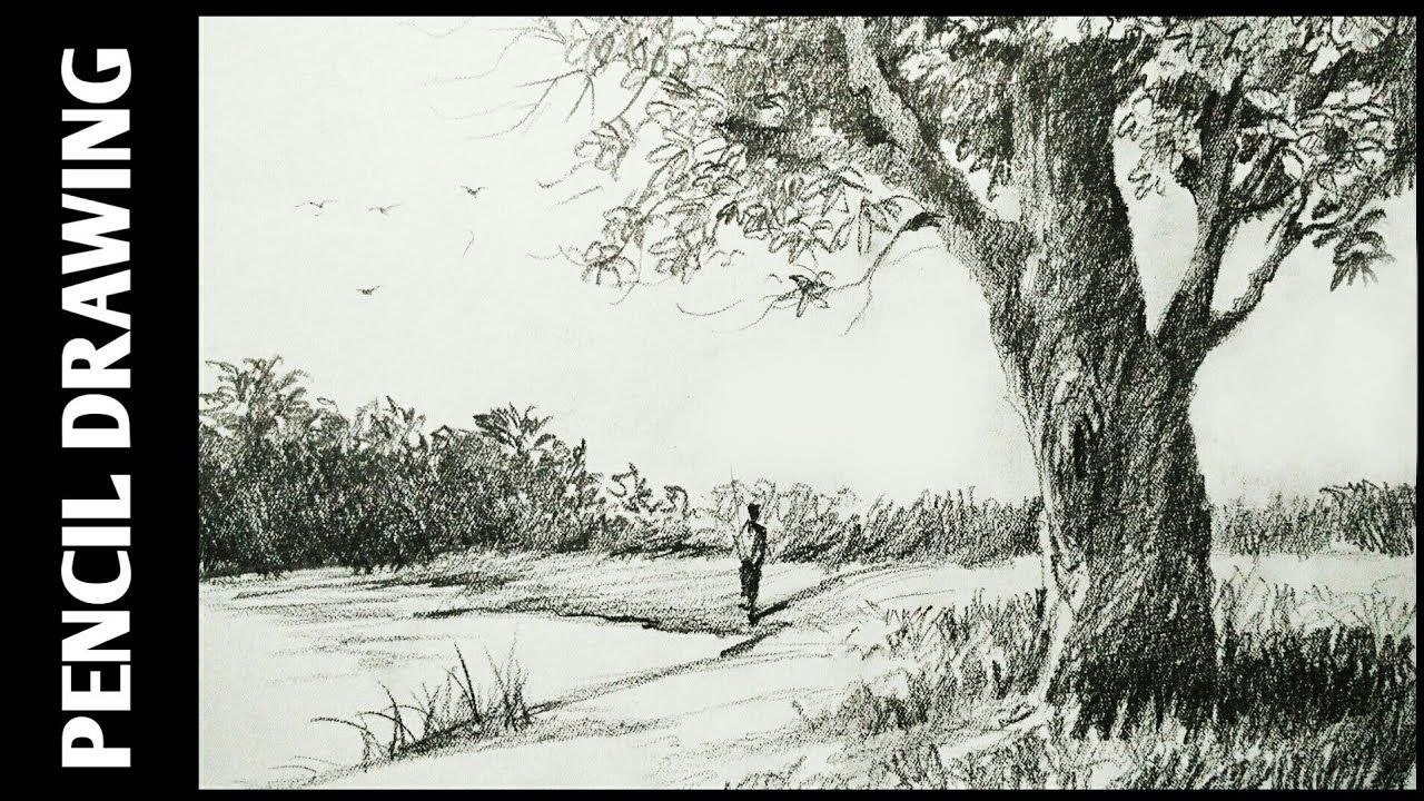 Landscape Drawing For Beginners With Pencil Sketching And Shading Simp Landscape Drawings Landscape Sketch Pencil Sketches Landscape